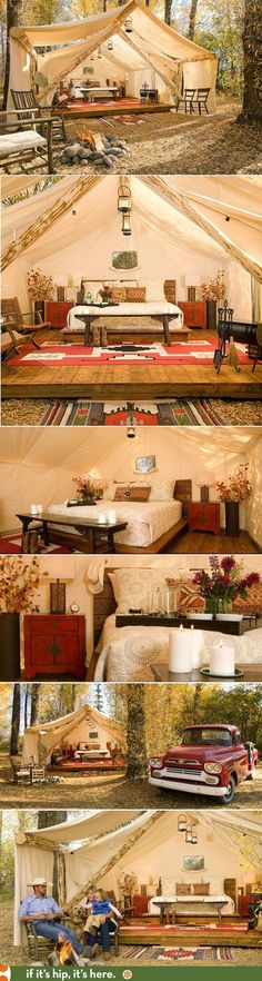 Sure, I'll go camping... if it's like this! Glamping in Jackson Hole | http://www.ifitshipitshere.com/glamping-forget-roughing-it-camp-in-style-luxury-tents-in-jackson-hole/ http://campingtentlover.com/best-cabin-camping-tents/