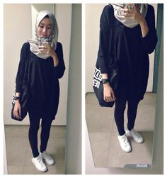 Syaifiena W lookbook.nu/syaifiena  ootd. casual hijab outfit Monochrome. minimalist outfit ima scarf, sweater, knit, jeans, white sneakers, adidas superstar, fall, totebag,oversized