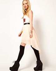 Hearts & Bows Chiffon Hi Lo Skirt with Leather Look Waistband