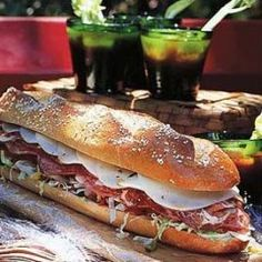 Recipe for Italian Hero Sandwich. This is the sandwich to make when you want an attention grabber! At a good Italian delicatessen, you will be able to find the peppers and sliced meats as well as a cr (Italian Recipes Sandwich) Panini Sandwiches, Delicious Sandwiches, Wrap Sandwiches, Sandwich Shops, Best Sandwich, Sandwich Recipes, Sandwich Ideas, Italian Hero Sandwich Recipe, Paella