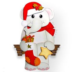 3D on the Shelf Card Kit - Little Christmas Elephant - Photo by Clear Cut Crafts…