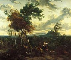 LANDSCAPE   Landscape with Tower and Figures, and a Distant View of Mount Soracte, Rome,late 17th century / early 18th century    Nicolaes Berchem   Dutch, 1620-1683  Oil on canvas