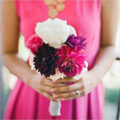 pink, purple and white bouquet
