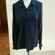 Silk Blouse 100% silk blouse, ink blue color, could pass as a navy color too. Norton McNaughton  Tops Blouses