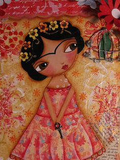 Want this painting!! Floral hair detail.  eyes and eyebrows