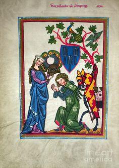 14th Century Czech Painting | ... , 14th Century Photograph - Minnesinger, 14th Century Fine Art Print