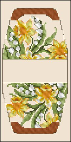 Cross-stitch Daffodil purse pattern... no color chart available, just use pattern chart as your color guide.. or choose your own colors..