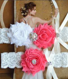 Hot Pink Wedding Garter, Keepsake Garter, Ivory Bridal Garter Set, Bridal Garter Set