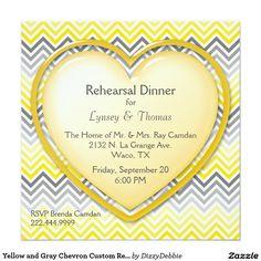 Yellow and Gray Chevron Custom Rehearsal Dinner 5.25x5.25 Square Paper Invitation Card