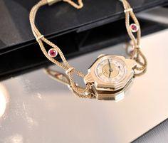 ROLEX 1940s Women Vintage watch Solid Gold 1CT RUBY! Deco Octagon Rope Bracelet | eBay