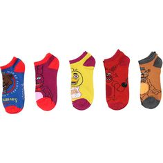 Five Nights At Freddy's Mix Match Ankle Socks 5 Pair Hot Topic ($15) ❤ liked on Polyvore featuring intimates, hosiery, socks, sport socks, acrylic socks, short socks, sports socks and mix match socks