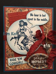 Cowgirl Card 3D Pop Up Funny No Hour Is Lost Spent by KimKatShop