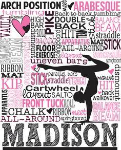 Gymnastics Print, Personalized Gymnastics Typography Print- Gymnastics Gift - 16 x 20. $35.00, via Etsy.