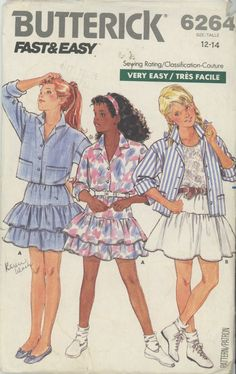 Vintage 80's Girls Shirt and Skirt  Butterick 6264 Sewing Pattern Size 12-14 Uncut Fast Easy and Vintage 80's