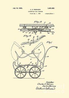 Patent Art Reproduction Robinson Convertible Baby Carriage - Lesa Fine #baby #carriage #patent art