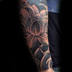 Black Lotus Flower Mens Forearm Japanese Sleeve Tattoo