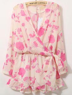 Pink V Neck Long Sleeve Floral Bow Jumpsuit 27.00