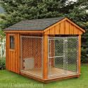 6'x10' Dog Kennel with 4'x6' Box, 6'x6' Run, and Board and Batten Siding. Site has many types / styles / sizes.
