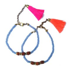 Beaded Sky Blue Tassel Mala Bracelet - $6 - Embellished in Rondelle and Rudraksha beads