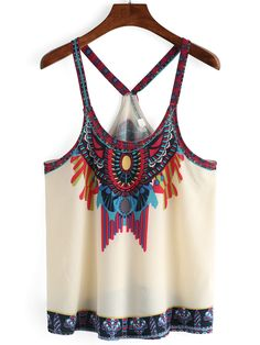 Designer Clothes, Shoes & Bags for Women Chiffon Cami Tops, Print Chiffon, White Chiffon, Vintage Shirts, Vintage Tops, Crop Shirt, Crop Tank, Aztec Shirt, Tank Tops