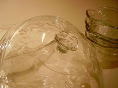 Antique Strawberry Motif Pressed Glass Fruit Compote by nyssaink, $48.00