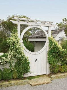 Moon Gate with board gate and pergola style top. Tor Design, Gate Design, Garden Gates And Fencing, Fences, Walpole Outdoors, Wood Arbor, Moon Gate, Side Garden, Chinese Garden
