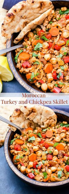 Every bite of this Moroccan Turkey and Chickpea Skillet is filled with savory and sweet flavors. Warm spices such as cinnamon and cumin tie everything together in this easy, gluten-free dinner!