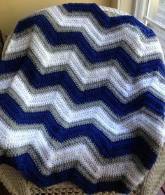Crochet Knit Baby Blanket Afghan Chevron Ripple Handmade Vanna Penn State Colors | eBay. Inspiration pic