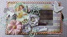 Mini Matchbox Dresser designed by Diane Shull using Graphic 45 Secret Garden paper collection. Purple flowers made using Heartfelt Creations Arianna Blooms stamp & die. Hardware by Hobby Lobby's Paper Studio.
