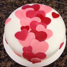 "Valentines Heart Cake. 8"" Round Cake Feeds 8-10 people Fondant  Price: $125.00"