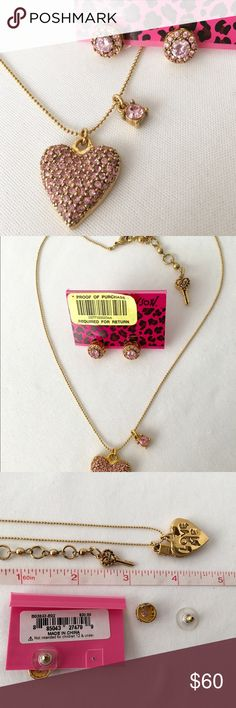 """Betsey Johnson 'Iconic Perfectly Pave' Jewelry Set You'll love this pretty set from Betsey's Iconic Perfectly Pave' Collection. The back of the pendant says """"Love Me""""!  Soft pink pave' and faceted crystals are featured in the pendant and earrings. The sides of the stud earrings have cut out hearts in the shiny gold tone metal. Both are pre-owned, new condition. VERY hard to find. Betsey Johnson Jewelry"""