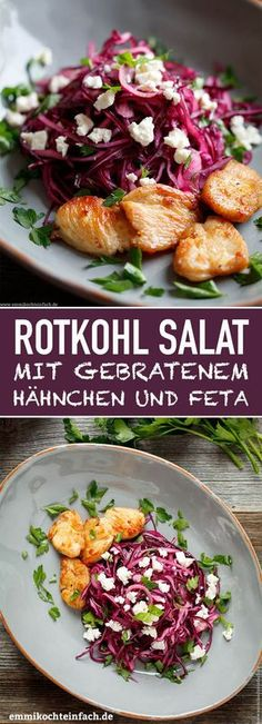 Rotkohl Salat mit gebratenem Hähnchen und Feta Red cabbage salad with roast chicken www.emmikochteinf … Tomato and cucumber salad with fetaBaked red cabbage steaks with goat's cheeseChicken Bacon Avocado Chopped Salad with Lemon Eats Red Cabbage Salad, Chicken Salad Recipes, Beef Recipes, Healthy Recipes, Healthy Drinks, Easy Recipes, Roasted Chicken, Fried Chicken, Feta