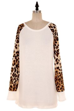 Long sleeve baseball style top with leopard print sleeves