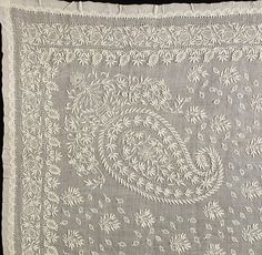 Chikan Kari Paisley Handkerchief. Embroidered Cotton Muslin. Corner Detail. India. Circa Early-20th Century.