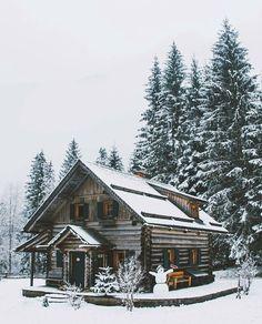 Cozy Log Cabins - Log cabin homes - Winter Cabin, Cozy Cabin, Snow Cabin, Winter Snow, Log Cabin Homes, Log Cabins, Mountain Cabins, Little Cabin, Winter Scenery