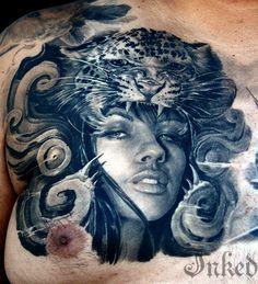 Timeline Gallery #InkedMagazine #chest #tattoo #art #tattoos #Inked #leopard #ink
