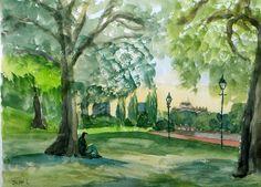 Original Watercolour Painting Battersea Park by JulianLovegroveArt, £50.00