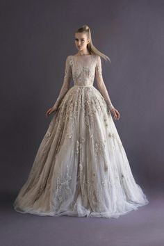 Paolo Sebastian Autumn/Winter 2014   Bride And Breakfast   Exquisite & Unique Bridal Ball Gown Which Showcases Gorgeous, Embroidery & Beading Along With 3D Floral Appliqués On A Long Sleeve Bateau Neckline Illusion Bodice, Embroidery, Beading, Appliqués Also Adorn The Ball Gown Skirt Which Features A Court Length Train××××