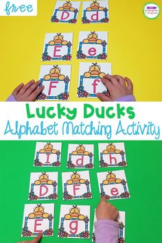 Your kids will love this fun, duck themed alphabet match activity! This FREE printable Lucky Ducks Alphabet Matching Game is great for Pre-K & Kindergarten. It is the perfect addition for a fun farm theme in your springtime literacy centers. And it's so easy to prep! It will provide tons of hands-on learning fun as your early learners match uppercase and lowercase letters!