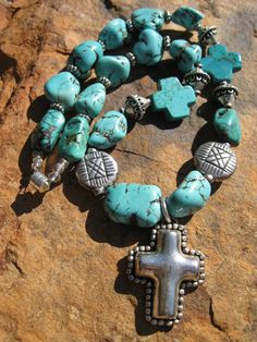 Sterling Silver Cross and Turquoise Necklace by fleurdesignz