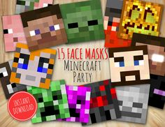 Photo Booth Party Props Set Face Mask Printable by BoomParty Party Fun, Party Time, Party Ideas, Minecraft Face, Minecraft Ideas, Photo Booth Party Props, Minecraft Birthday Party, Kids Prints, Best Part Of Me