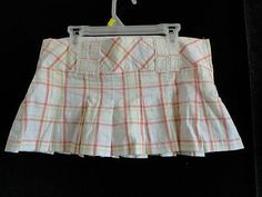 Size 16-18 Girls - *Forever - White Plaid Pleated Skirt w/Shorts BTS