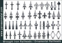 Wrought Iron railheads tops manufacturers and Ornamental Iron railheads tops exporters from India - Gate Grill railings heads, Gate tops, ca...