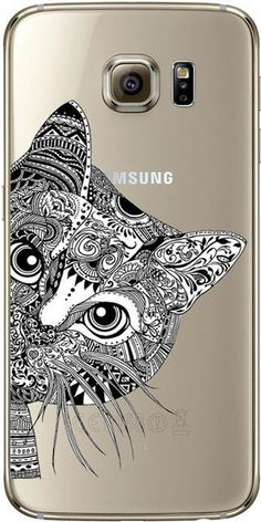 Black and White Cat Done in Indian Design For iPhone 5 5S SE 6 6S 7