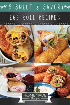 15 Homemade Egg Rolls With Savory And Sweet Flavors Sweet and savory homemade egg rolls that make the perfect side dish and appetizer. Best of all, they're really easy to make! Recipes Using Egg Roll Wrappers, Eggroll Wrapper Recipes, Wonton Recipes, Egg Roll Recipes, Cooking Chinese Food, Asian Cooking, Appetizer Dishes, Appetizer Recipes, Appetizers