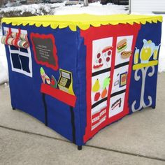 Neighborhood cafe- card table playhouse I love this one.. and love that it's so much easier than having an actual playhouse to store