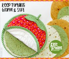 Fast Fridays: Tortilla or Flatbread Warmer Quilt Patterns, Sewing Patterns, Sewing Ideas, Fabric Crafts, Sewing Crafts, Small Sewing Projects, Craft Markets, Christmas Sewing, Mug Rugs