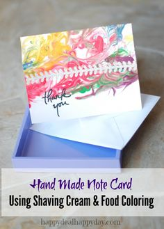 """Make this adorable """"Thank You"""" note card using shaving cream and food coloring!  Frugal and fun!  The kids will love this!!!     happydealhappyday.com"""