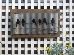 Birds on wire- corrugated iron and pallet base