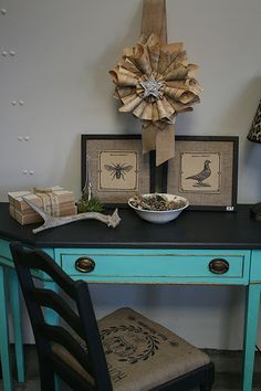 Sewing desk - distressed turquoise front & sides, sleek black top & legs, sleek black chair, turquoise & black fabric or fleur de lis burlap upholstery